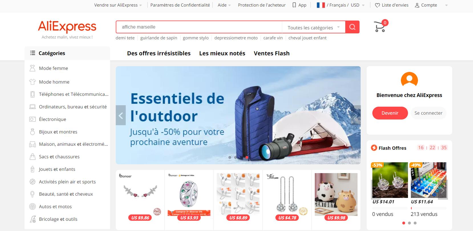 Page d'accueil de la boutique chinoise Aliexpress