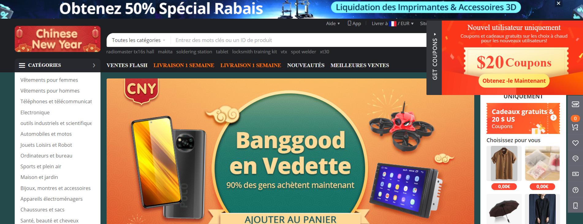 Page d'accueil de la boutique chinoise Banggood