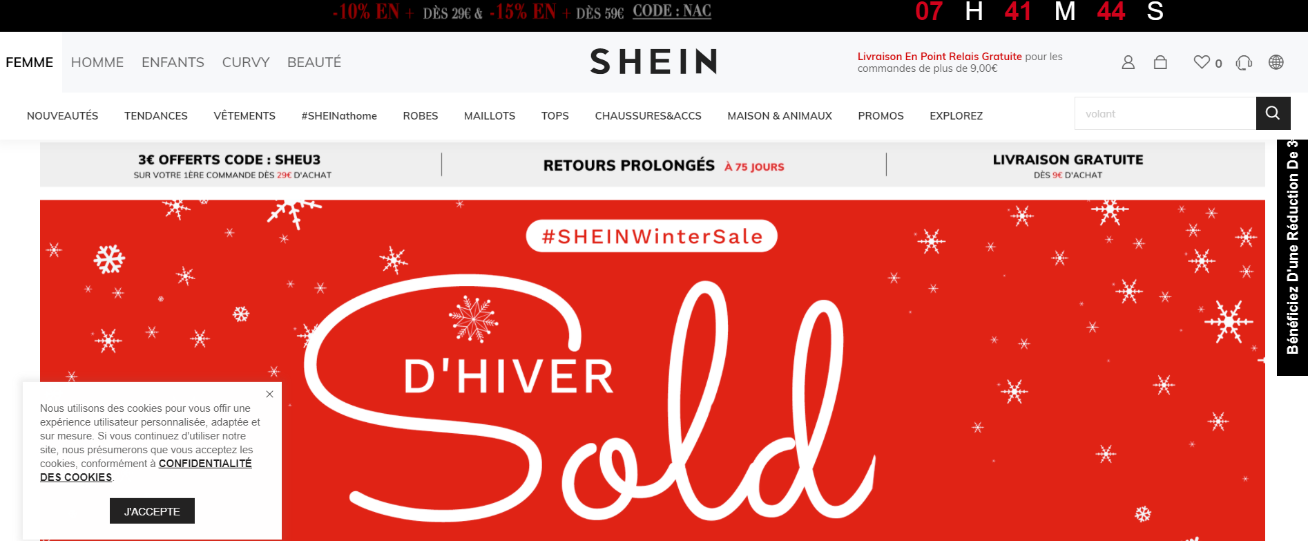 Page d'accueil de la boutique chinoise Shein